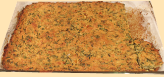 a tray of methi lagan just out of the oven