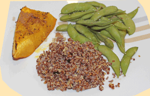 Edamame with red quinoa and roasted pumpkin